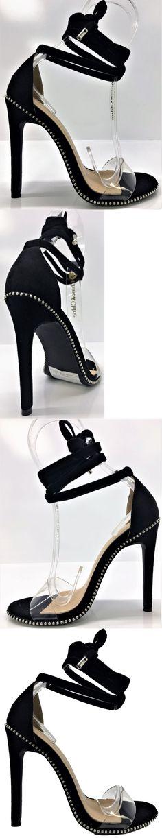 00731f240df3 Heels 55793  Gigi-46 Women Tie Up Stiletto High Heel Sandals Studs Clear  Strap Black -  BUY IT NOW ONLY   30.99 on eBay!