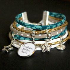 Bracelet liberty turquoise, beige, doré, blanc - médaille prénom / texte…
