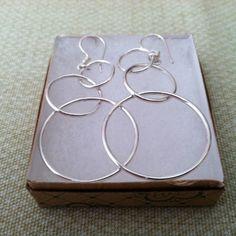 Silver Earrings w/ Three rings