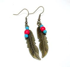 Southwestern Antique Bronze Feather Earrings by SpiritualPathways, $10.00