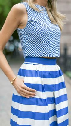 periwinkle blue and white striped pleated high waisted culottes, jacquard print sleeveless crop top, gold double strap slide sandals {alice and olivia, joie, brandy pham}