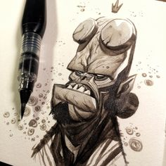 Ink washes from hell. #hellboy