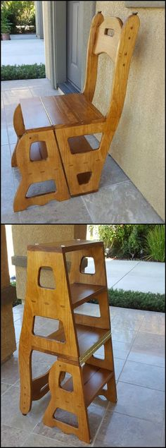 Woodworking Designs Check out this awesome customer project! This convertible step stool and chair plan allows you to build not only one piece of furniture but two!