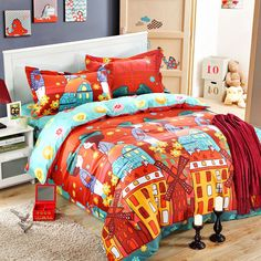 5pcs Cartoon style print bedding set queen, King & Twin size. 100% cotton fabric, high density, super soft material Bedding set . Worldwide Free shipping .