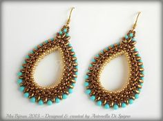 These are my Cleopatra earrings. They are a mix of two beading stitch… you can wear them for every occasion. You can enjoy to make them using different color of seed beads, pearls, superduos…  The beading pattern of Cleopatra earrings consists in 14 pages of very detailed instructions with diagrams of each step. Images and diagrams are enough to understand how to make the earrings. Beading Techniques: Peyote stitch and Cubic Right Angle Weave (RAW 3D)  The pattern contains also instructions…