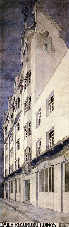 Charles Rennie Mackintosh, Daily Record building, Glasgow: perspective from the south-east, Charles Rennie Mackintosh, Art Nouveau Architecture, Architecture Drawings, Architecture Details, Art Deco, Art Nouveau Design, Glasgow School Of Art, Urban Sketching, Arts And Crafts Movement