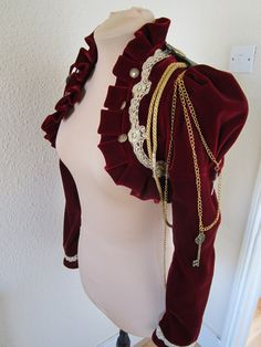 Items similar to Red steampunk velvet bolero jacket on Etsy : alternative to epaulettes on a military uniform Steampunk Jacket, Steampunk Pirate, Victorian Steampunk, Steampunk Costume, Steampunk Clothing, Steampunk Fashion, Victorian Fashion, Red Velvet Jacket, Punk Jackets
