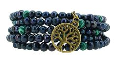 Dyed Black Freshwater Cultured Pearls Imitation Malachite Wrap Bracelet with a Removable Charm ** Want to know more, click on the image.