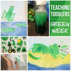 Great Lessons for teaching your one year old all about green!  Teaching Toddlers: Green Week (for Kiddos 15+ Months) - handprint and footprint art, a felt board, sensory bottle, finger painting, green baths, and more. diyanddinosaurs.com