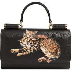 Dolce & Gabbana Women Cats Print Dauphine Leather Phone Clutch (€1.460) ❤ liked on Polyvore featuring bags, handbags, clutches, accessories, purses, black, genuine leather purse, cat purse, chain strap handbag and man bag
