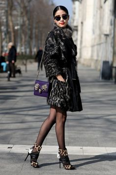 MFW Street Style Day Four: Leopard heels to mimic the pattern on her wild-print coat.