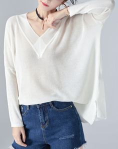 #VIPme White Plain V Neck Batwing Sleeve Loose Jumper ❤️ Get more outfit ideas and style inspiration from fashion designers at VIPme.com.