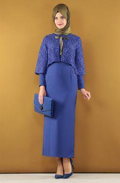 Kayra Abiye Elbise Takım-Saks KA-B6-16003-74