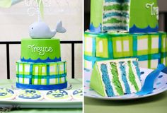 Whale cake & cookies - blue and green layers