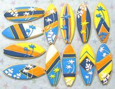 Surfboard Cookies - Surfboard Cookie Favors - Decorated Cookies - 1 Dozen. $36.99, via Etsy.