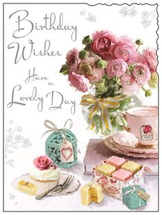 Greeting Card Female Birthday - French Fancies and Pink Flowers - Foil Embossed Finish on OnBuy Happy Birthday Greetings Friends, 70th Birthday Card, Happy Birthday Wishes Images, Happy Birthday Celebration, Happy Birthday Flower, Birthday Cards For Her, Birthday Cards Images, Vintage Birthday Cards, Birthday Greeting Cards