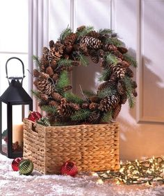 Hang this classic wreath on your holiday door to welcome your guests! The natural beauty of the intertwining pine branches and pine cones create a wreath that you'll enjoy displaying on your door or above your mantel for years to come. Christmas Holidays, Christmas Crafts, Christmas Ornaments, Halloween Crafts, Pine Cone Decorations, Christmas Decorations, Holiday Decorating, Interior Decorating, Decorating Ideas