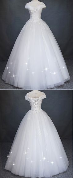Modest Tulle & Satin Bateau Neckline Ball Gown Wedding Dress With Beaded Lace Appliques