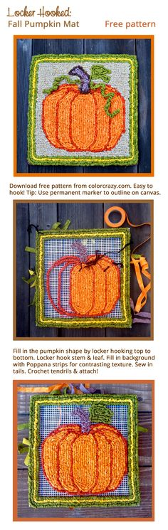 Locker Hooked Fall Pumpkin Mat Free Pattern From Colorcrazy Com Hooking