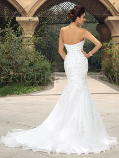 Glamorous Strapless Appliques Sequins Mermaid Wedding Dress Wedding Dresses 2015- ericdress.com 11129096