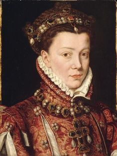 ELUSABETH DE VALOIS queen of Spain PROVENCE Antonis Mor, ca 1560, Louvre photo RMN . Note this is a SECOND portriat nlt a cropped photo of the fuller size portrait. This one is in Paris