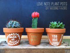 DIY Love Note Plant Pots by Stockroom Vintage. 'I will survive'