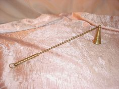 Vintage Brass Metal Hinged Candle Snuffer Detail 12 inch Aged Patina