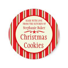 Shop Striped red green cookie swap baking gift stickers created by Mylittleeden. Christmas Food Gifts, Christmas Labels, Christmas Stickers, All Things Christmas, Christmas Cookies, Christmas Gifts, Cookie Exchange Party, Christmas Cookie Exchange, Personalized Stickers