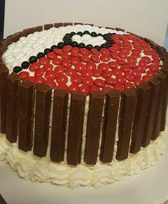 Pokémon poke ball cake Red velvet and white cake with white chocolate buttercream