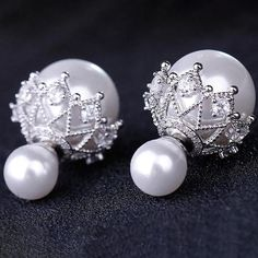 Stunning and bold stud earrings for women crafted with White Venetian Pearls and Swarovski crystals. Double sided Pearl earrings. trendy Jacket earrings online. Perfect jewellery for any occasion to pair with a traditional dress or western attire. Tiny Stud Earrings, Statement Earrings, Women's Earrings, Jacket Earrings, Earrings Online, Fashion Earrings, Fashion Jewelry, Women Jewelry, Jewelry Accessories