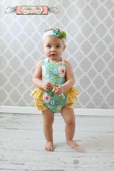 Baby Girl Sunsuit Romper, Ruffle Romper, Toddler Girl Easter Boutique on Etsy, $35.00
