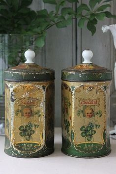 vintage sugar and chocolate tins