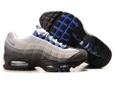Nike Air Max Kids 95 Shoes White/Grey/Blue Clearance 811g55