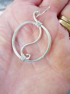 Sterling Silver, Argentium Silver, Large Hoop Earrings, Yin Yang