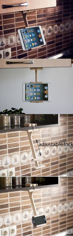 Elegant and stylish holders for your smartphone and tablet. Size and convenient form allows to always be on hand.  Perfect for your home or work, to use in the kitchen for viewing your recipes. Also a great way to listen to music on your tablet or watch TV! Just like a clothespin attached to any shelf and does not interfere closing doors.