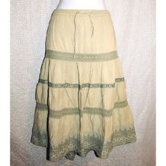 """BOGO 🌟 Boho Crochet Eyelet Prairie Skirt Sz L So cute! Tan flowy gypsy skirt with mossy green crochet and eyelet trims. Adjustable drawstring waist. 100% cotton.  By Passport. Size Large  (L). Waist measures 32-42"""". Length is 26"""". Good pre-owned condition with no holes, rips or stains.                                                                    KWs: fall, prairie, back to school, vintage vibes, casual chic, weekend warrior, minimalist Passport  Skirts Midi"""