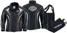 harley-davidson-women-s-rain-gear-women-s-illumination-360-degree-rain-suit-98257-13vw Harley Apparel, New Outfits, Cool Outfits, Harley Davidson Jewelry, Harley Gear, Motorcycle Jackets, Rain Gear, Biker Chick, Bike Stuff