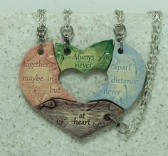 Friendship pendants set of 4 puzzle pieces by GirlwithaFrogTattoo