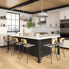 Kitchen Island Furniture, Black Kitchen Island, Kitchen Stools, New Kitchen, Kitchen Dining, Kitchen Decor, Kitchen Island And Table Combo, Kitchen Counters, Kitchen With Bar Counter