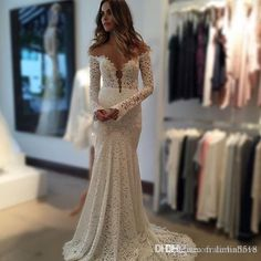 2016 Berta Vintage Lace Wedding Dresses Mermaid Sheer Long Sleeves Backless Off the Shoulder Beach Wedding Gowns Plus Size