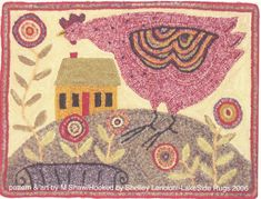 Hen with Flowers #rug hooking-the link to this is broken-but love the big pink hen