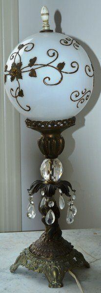 Victorian Style Lamp with Milk Glass Shade