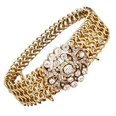 Russian Diamonds. Rare Russian diamond bracelet, ca. 1840 Antique Bracelets, Love Bracelets, Antique Jewelry, Vintage Jewelry, Bling Jewelry, Jewelry Art, Jewelery, Fashion Jewelry, Women's Accessories