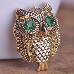 Vintage Cool Owl Broche Only $9.96  => Save up to 60% and Free Shipping => Order Now! #Ring #Jewelry #woman #fashion  http://www.fancyjewelries.net/product/vintage-cool-owl-broche/