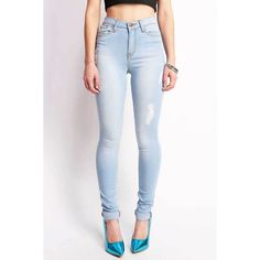 Pink Ice Ultra Lite High Waist Skinny Jeans ($50) ❤ liked on Polyvore featuring jeans, bottoms and denim