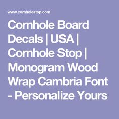 Cornhole Board Decals | USA | Cornhole Stop | Monogram Wood Wrap Cambria Font - Personalize Yours