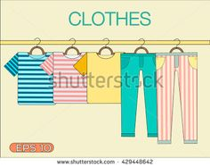 T-shirts and pants with stripes on a hanger. Of clothes on a hanger. Summer clothes. Hanger with clothes. Shopping elements. Summer clothes. Beach clothing on a hanger. set of clothes on a hanger.