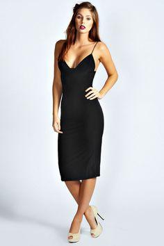 $26, Boohoo Karen Slinky Bodycon Midi Dress. Sold by BooHoo. Click for more info: https://lookastic.com/women/shop_items/154796/redirect