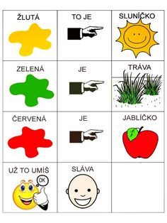 Barvy   Emilie Bakajsová          Žlutá to je sluníčko,   Zelená je tráva,   červené je jablíčko,   Už to umíš ... Montessori, Worksheets, Language, Education, Logos, Kids, Pictures, Speech Language Therapy, Young Children