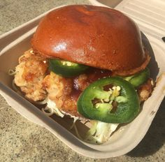 Nom Bomb sandwich on a brioche bun. Hunger, gone. Japanese food. Teriyaki